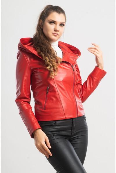 Ata Leather Kadın Kırmızı Kapüşonlu Spor Deri Ceket