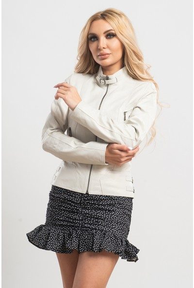 Ata Leather Kadın İnci Beyazı Trendy Deri Ceket