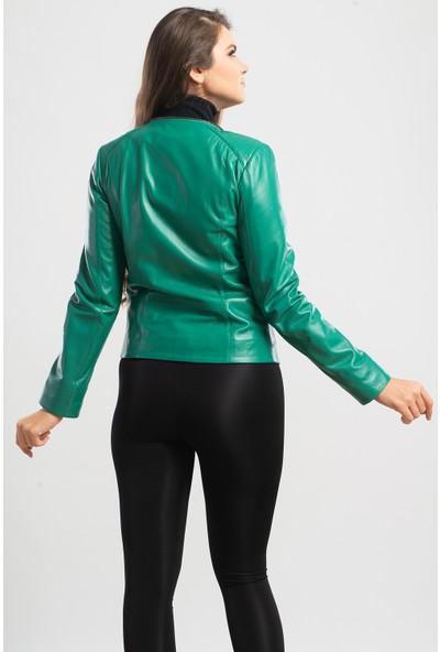 Ata Leather Kadın Kapşonlu Spor Deri Mont