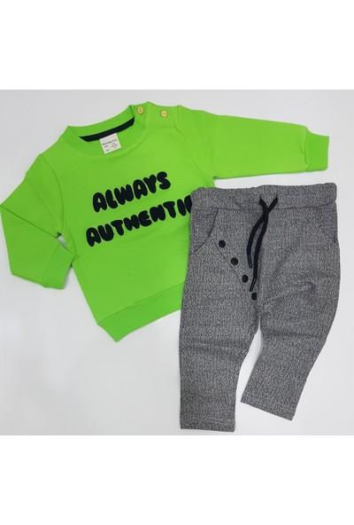 Winix KidsYeşil Renk Erkek Çocuk Traşlı Penye Sweat Tarz Düğme Modelli Alt Eşofman Takımı