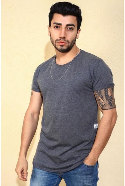 Oksit Crash Uzun Oval Slim Fit Basic Erkek Tshirt