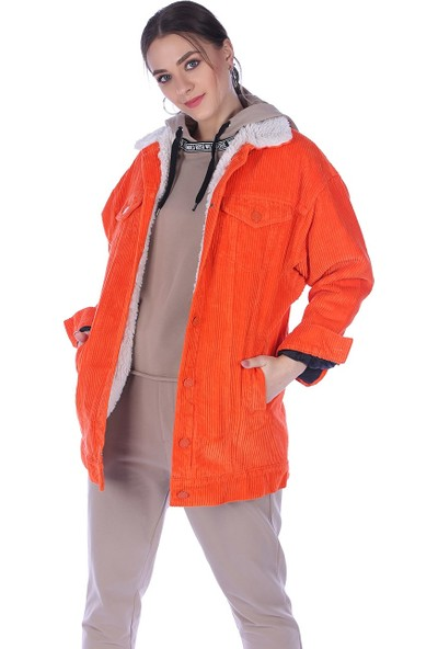 Whitney Jeans Kadın Trend Içi Kürklü Kadife Mont Orange