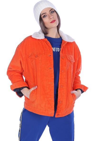 Whitney Jeans Kadın Trend Içi Kürklü Mont Orange