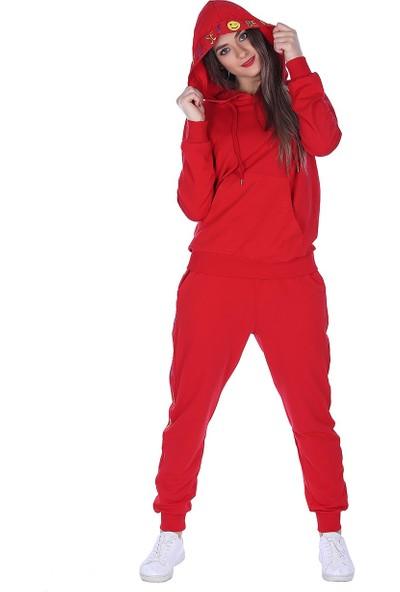 Whitney Jeans Trend Eşofman Takımı Baskılı Kırmızı