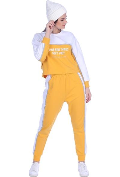 Whitney Jeans Kadın Baskılı Eşofman Takımı Turuncu Beyaz
