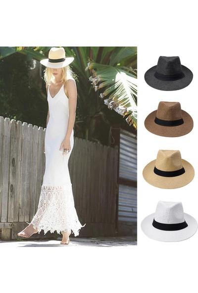 Anself Moda Erkek Kadın Panama Güneş Hasır Şapka Kontrast