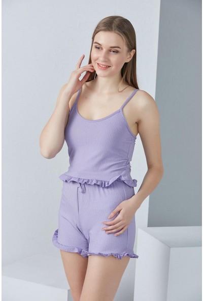 Fırfırlı Şortlu Pijama Takım