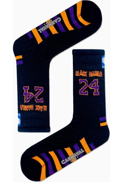 Carnaval Socks Black Mamba 24 Yazılı Nba Basketball Desenli Renkli Spor Çorap