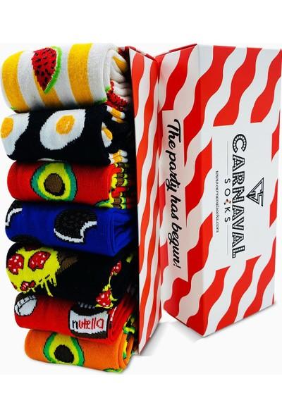 Carnaval Socks 7'li Carnaval Desenli Renkli Çorap Set