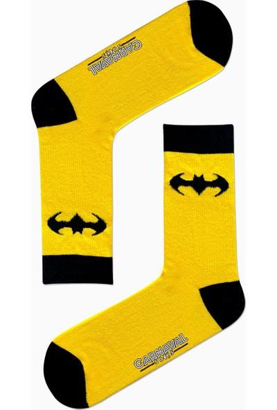 Carnaval Socks Batman Logolu Desenli Renkli Çorap