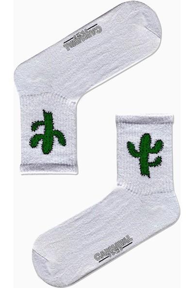 Carnaval Socks Yeşil Kaktüs Desenli Renkli Spor Çorap