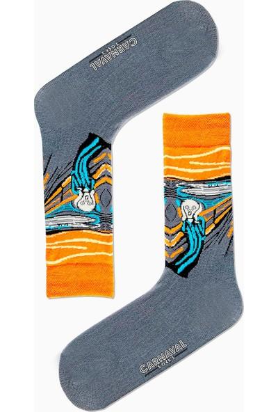 Carnaval Socks Çığlık Art Desenli Renkli Çorap