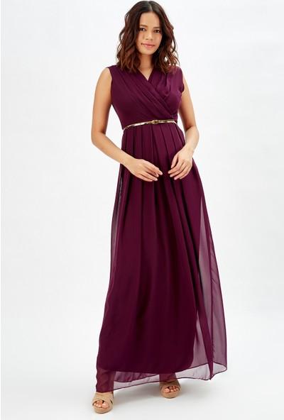 Sense Ici Astarlı Uzun Şifon Uzun Elbise MorMor