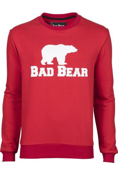 Bad Bear Erkek Beyaz Sweatshirt - Kırmızı