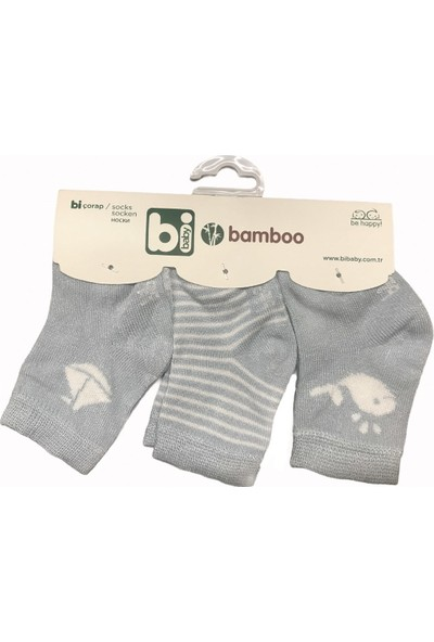 Bibaby Bambu Erkek 3'lü Bebe Çorabı