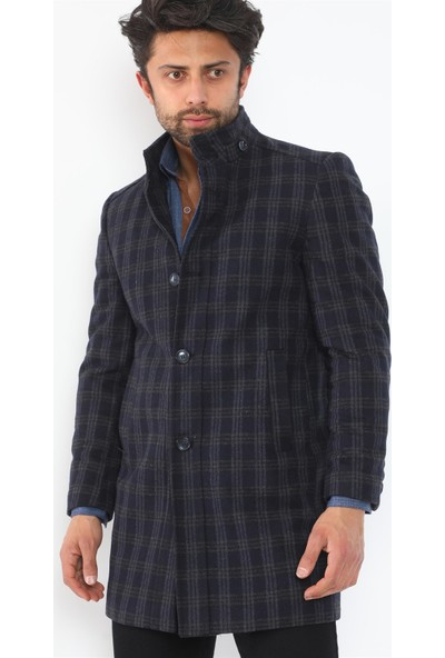 Dewberry PLT8370 Erkek Palto - Desenli Lacivert