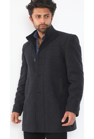Dewberry PLT8387 Erkek Palto - Desenli Lacivert