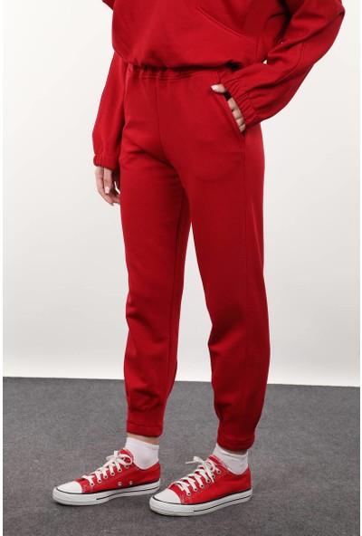 Markapia Woman Kırmızı Paçası Pensli Kadın Eşofman Altı L