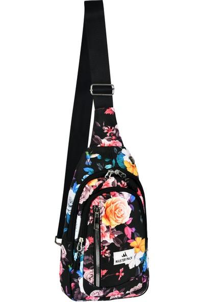 Master Pack Roxy Kadın Renkli 3 Bölmeli Çapraz Bel Çantası R-20