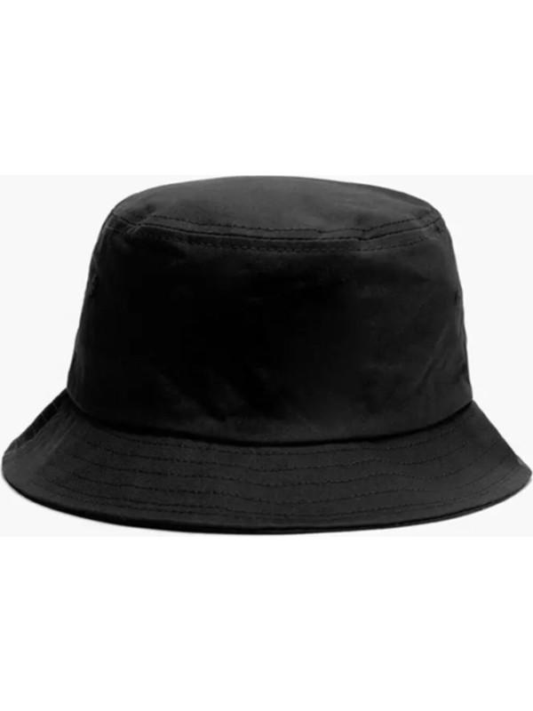 Düz Siyah Kova Şapka Balıkçı Şapka Bucket Hat