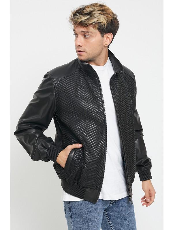 Nero Leather Kolej Erkek Deri Ceket Fileye Deri Biye Örgü Detaylı Z1454