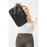Kadın Basic Clutch Çanta Kroko Timsah Desen Siyah 214002
