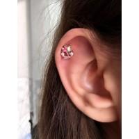 Serpil Jewellery Rose Renk Zirkon Taşlı Gökkuşağı Uzay Yıldızı Çelik Piercing