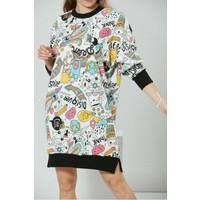 Waqpoo Grafik Desenli Sweat Elbise - Renkli