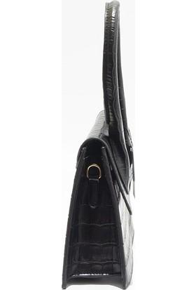 Queen Elizabeth Siyah Kroko Kadın Çanta