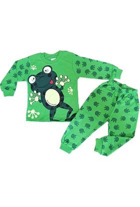 Bavyera Süpermini Yeşil Kurbağa Temalı 1-3 Yaş Bebek Pijama Takımı
