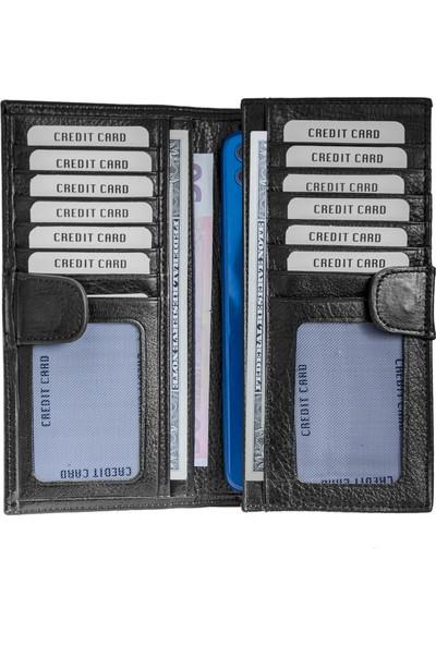 Lederax LD193 Hakiki Deri Telefon Bölmeli Mıknatıslı Portföy Cüzdan Kartlık
