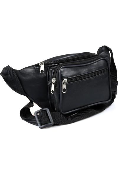 Lederax %100 Hakiki Deri Freebag Bel Çantası Siyah