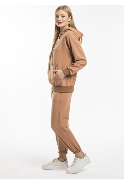 Rascomoda Kadın 2 İplik Kapşonlu Kanguru Cep Eşofman Takımı 6000HB