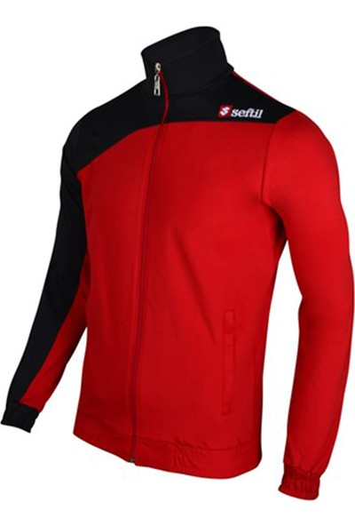 Seftil Z0317 Trend Jacket Eşofman Üstü Kırmızı Siyah