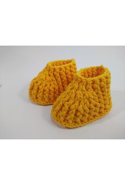 Kozalak Tasarım Bebek Bere-Patik Takmı Sarı