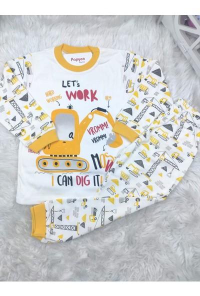 Papyon Baby Kids Lets Work Kepçe Baskılı Erkek Çocuk Pijama Takımı