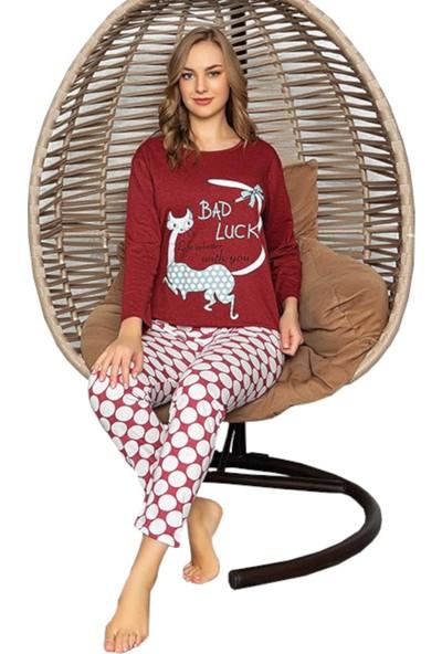 Rinda Life Is Better With You Yazılı Bordo Kadın Pijama Takımı
