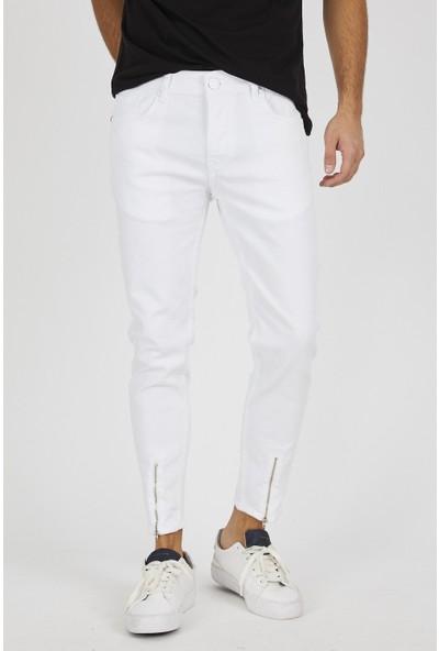 Jean Maker Erkek Beyaz Paçası Fermuarlı Kısa Paça Kot Pantolon