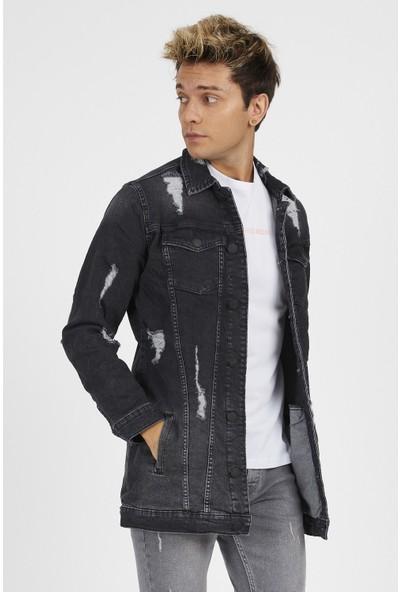 Gotica Erkek Gri Yırtık Uzun Kot Ceket