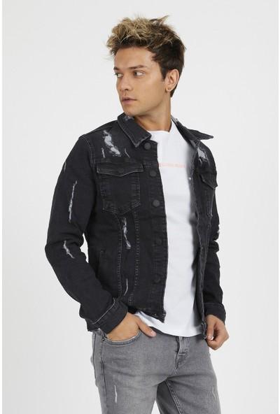 Gotica Erkek Siyah Yırtık Detaylı Kot Ceket