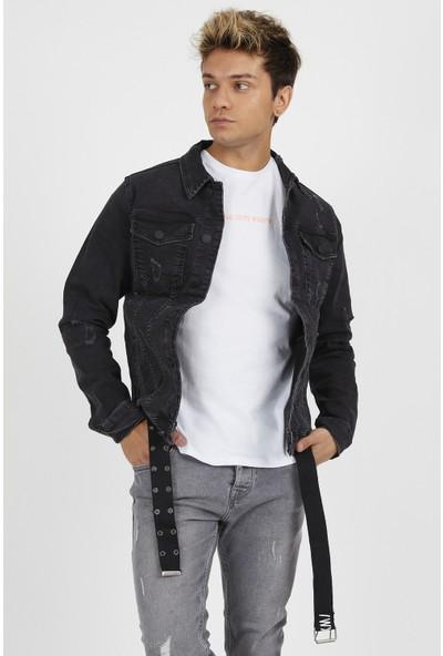 Gotica Erkek Siyah Kemerli Detaylı Kot Ceket