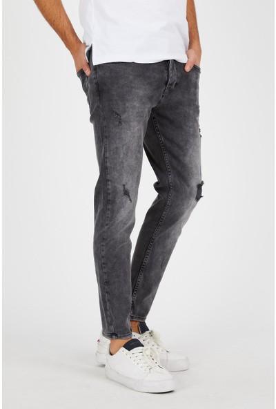 Jean Maker Erkek Gri Yırtık Kısa Paça Kot Pantolon