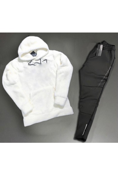 Vişneli Erkek Beyaz Siyah Eşofman Takımı Üst Peluş Alt Scuba Kumaş