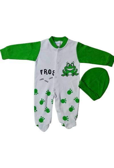 Sercinyo BabyErkek Bebek Kurbağalı Tulum, Çıtçıtlı Şapkalı
