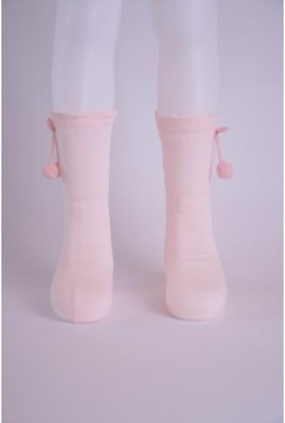 Katamino 2 Li Ponponlu Diz Altı Kız Çocuk Çorabı Pembe-Krem
