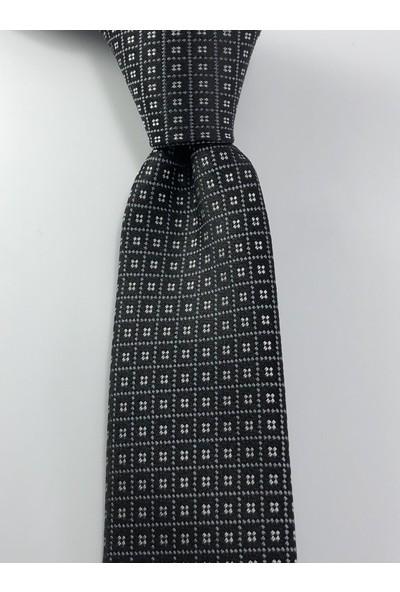Pierroni Siyah Gri Beyaz Desen Slim Kravat