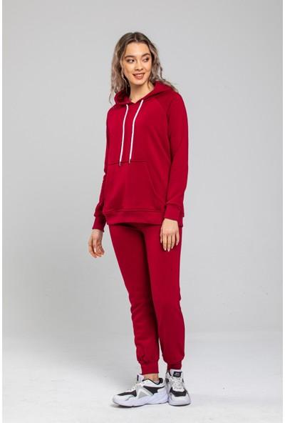 Mr Fashion Kadın Kırmızı Kapüşonlu Ribanalı Polarlı Oversize Eşofman Takımı