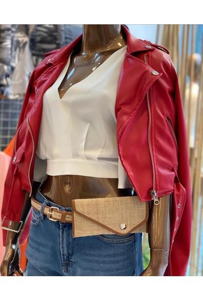 Stileest Kadın Suni Deri Biker Ceket