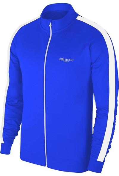 Büyük Beden Erkek Mavi Günlük Sporcu Eşofman Takımı 4XL-10XL Beyaz Tek Bant Şerit - M1