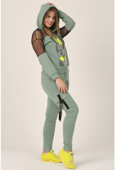 Merterix Kadın Mint Yeşili Kapüşonlu Baskılı Alt Üst Takım